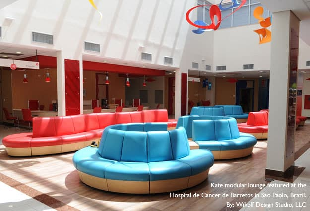 ERG International provided furniture for the Childrens Hospital de Cancer de Barretos - Designed by Marie Wikoff.  Marie is owner and founder of Wikoff Design Studio based out of Reno, Nevada.