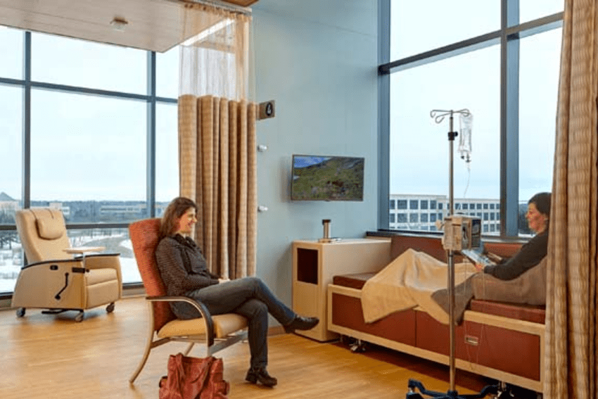 Infusion spaces offer patients control over their environment, including access to fresh air via operable windows and the ability to go directly outside to a private garden. Craig Dugan Photography