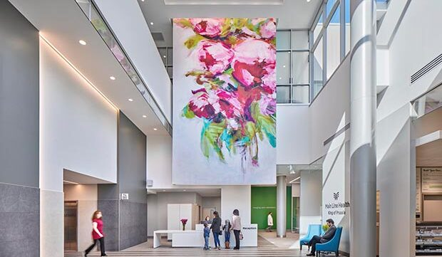 Supersized Floral Graphics Are a Key Interior Design Element at Main Line Health's New Women's Specialty Center